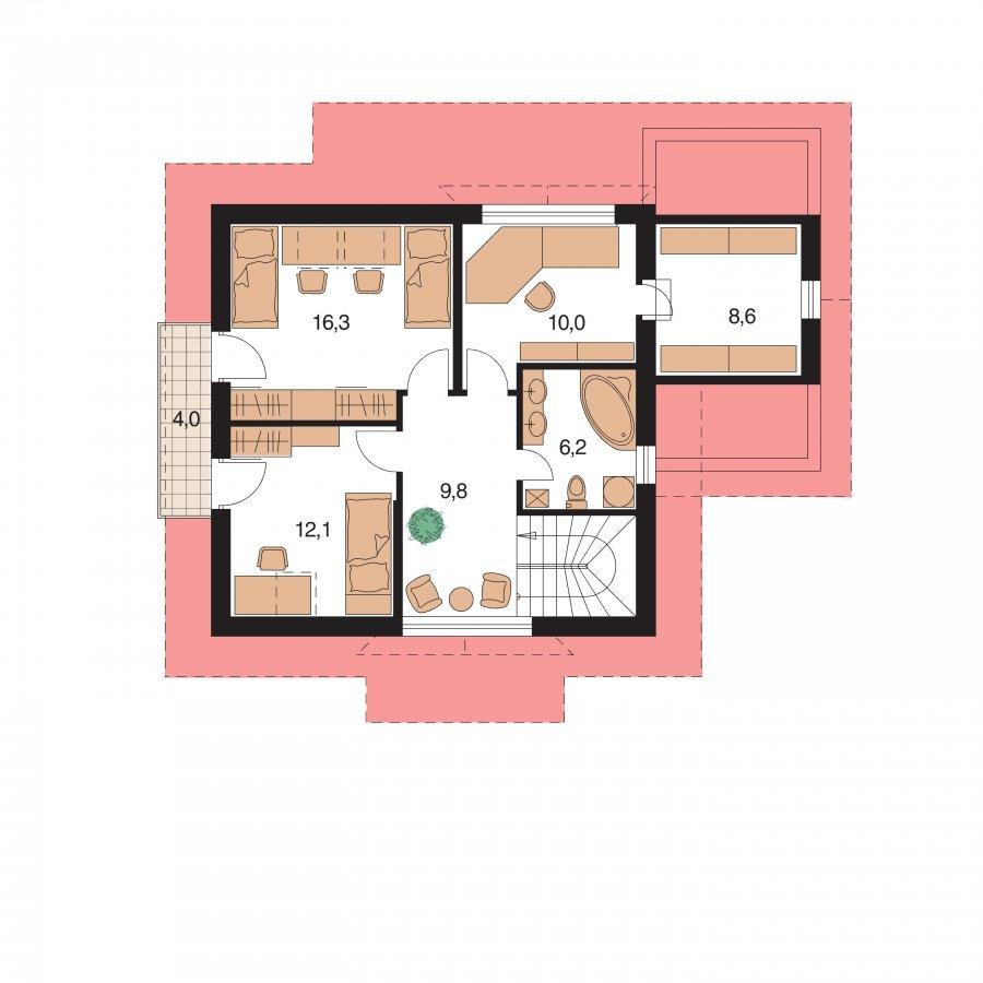 Pôdorys Poschodia - Malý 5-izbový dom s garážou