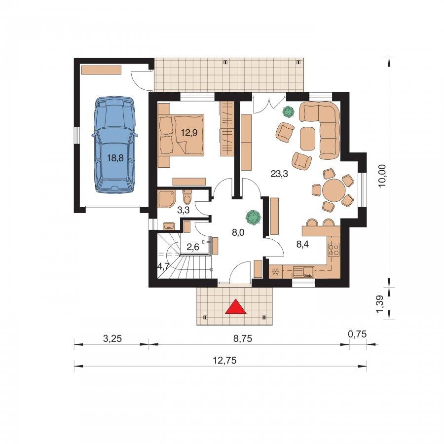 Pôdorys Prízemia - Malý 5-izbový dom s garážou