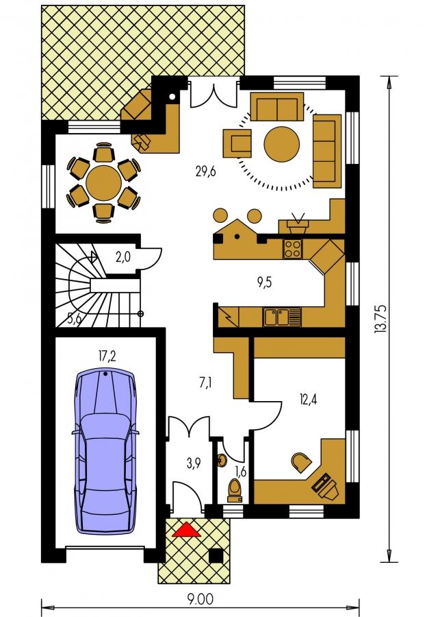 Pôdorys Prízemia - Dom s garážou na úzky pozemok