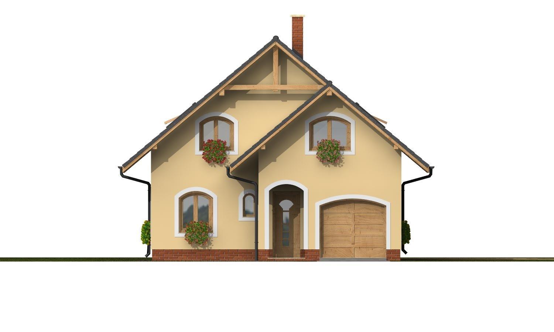 Pohľad 1. - Dom s garážou na úzky pozemok.