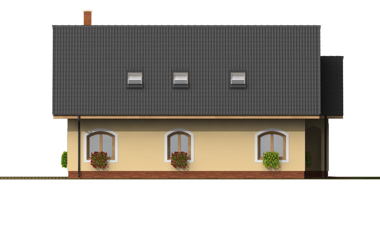Pohľad 2. - Dom s garážou na úzky pozemok.