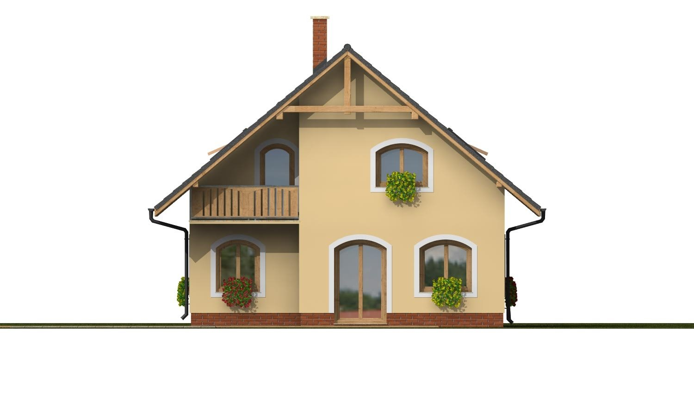 Pohľad 3. - Dom s garážou na úzky pozemok.