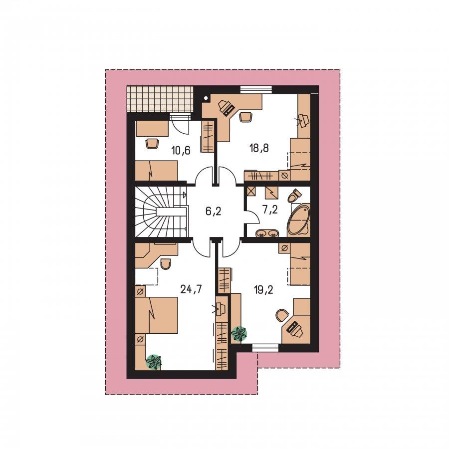 Pôdorys Poschodia - Dom s garážou na úzky pozemok