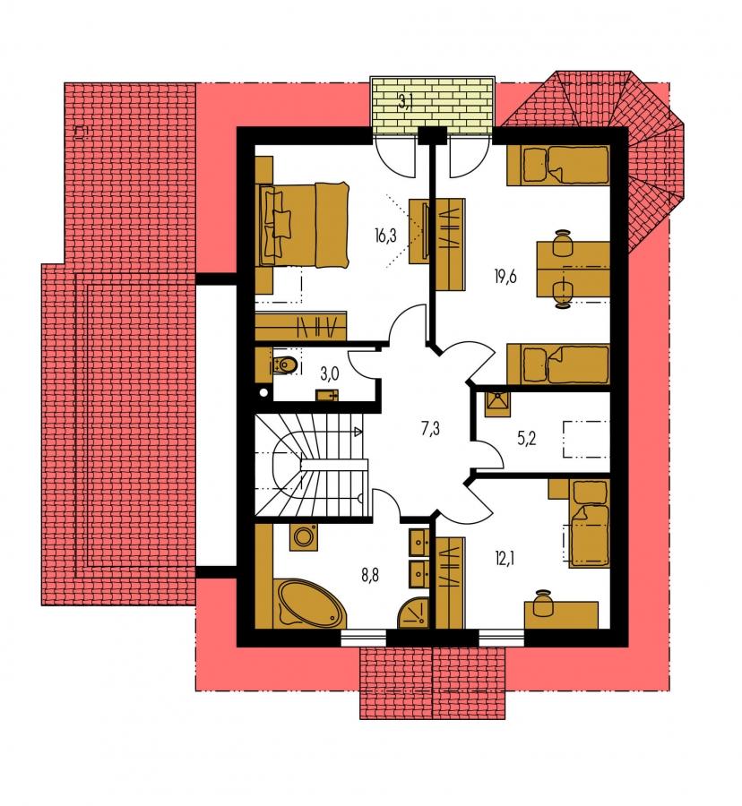 Pôdorys Poschodia - Podkrovný dom s apsidou a garážou.
