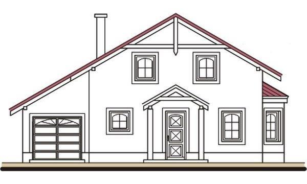 Pohľad 1. - Podkrovný dom s apsidou a garážou