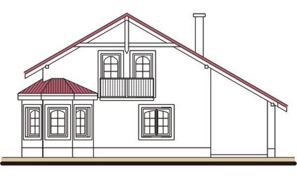 Pohľad 3. - Podkrovný dom s apsidou a garážou