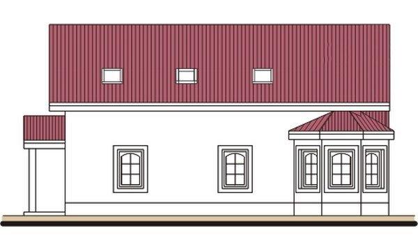 Pohľad 4. - Podkrovný dom s apsidou a garážou