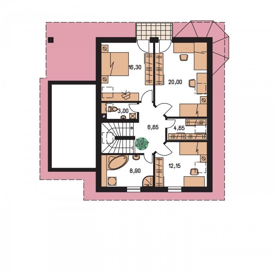 Pôdorys Poschodia - Podkrovný dom s apsidou a garážou