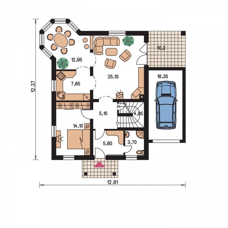 Pôdorys Prízemia - Podkrovný dom s apsidou a garážou