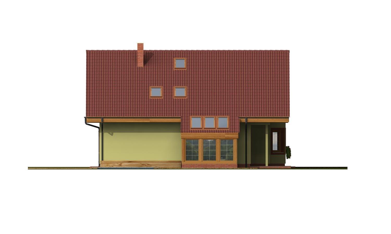 Pohľad 2. - Dom s dvojgarážou, veľkým suterénom, izbou na prízemí a zimnou záhradou.