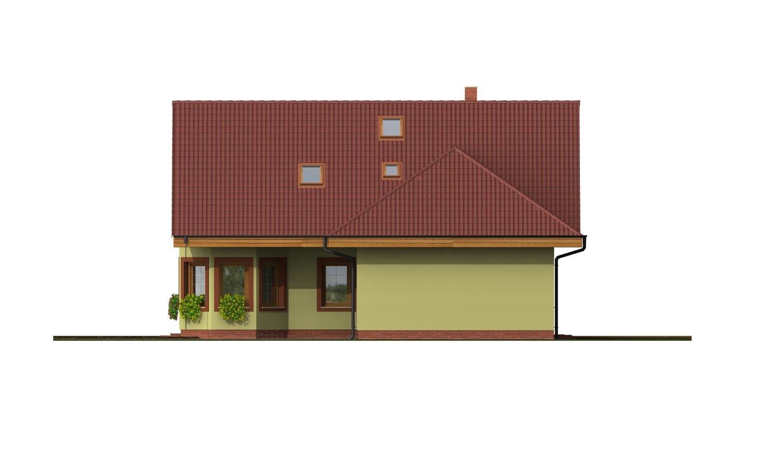Pohľad 3. - Dom s dvojgarážou, veľkým suterénom, izbou na prízemí a zimnou záhradou.
