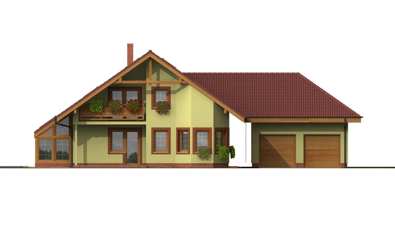 Pohľad 4. - Dom s dvojgarážou, veľkým suterénom, izbou na prízemí a zimnou záhradou.
