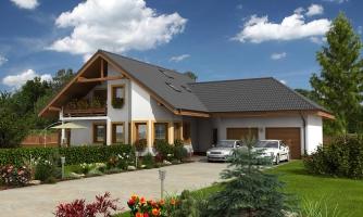 Dom s dvojgarážou, veľkým suterénom, izbou na prízemí a zimnou záhradou.