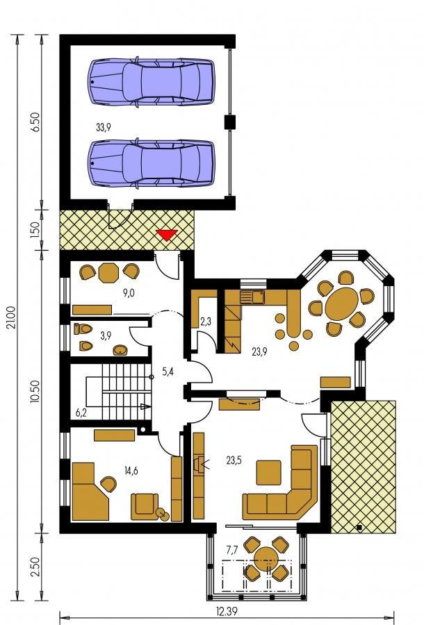 Pôdorys Prízemia - Dom s dvojgarážou, veľkým suterénom, izbou na prízemí a zimnou záhradou.