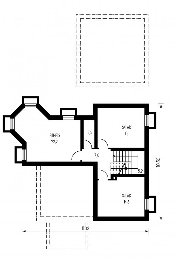 Pôdorys Suterénu - Dom s dvojgarážou, veľkým suterénom, izbou na prízemí a zimnou záhradou.