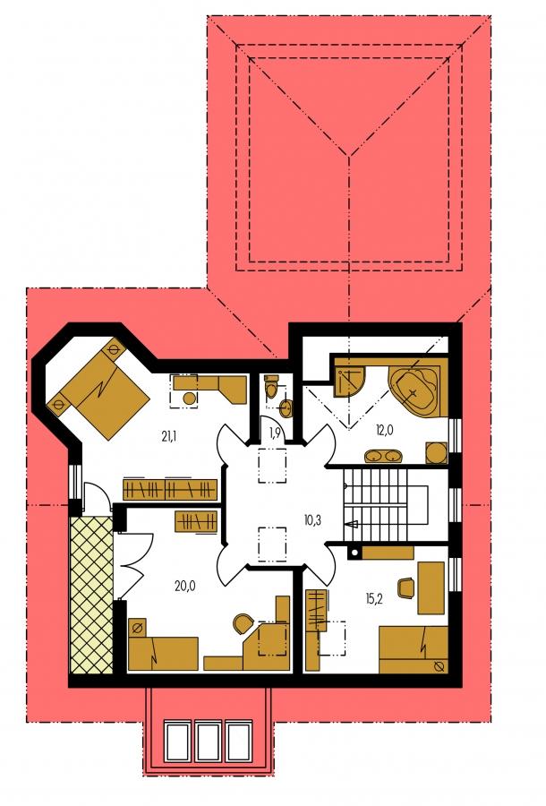 Pôdorys Poschodia - Dom s dvojgarážou, veľkým suterénom, izbou na prízemí a zimnou záhradou.