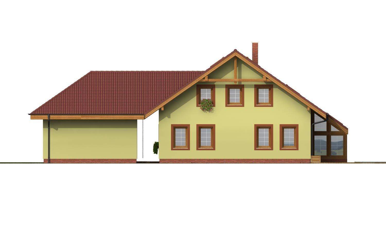 Pohľad 1. - Dom s dvojgarážou, veľkým suterénom, izbou na prízemí a zimnou záhradou.