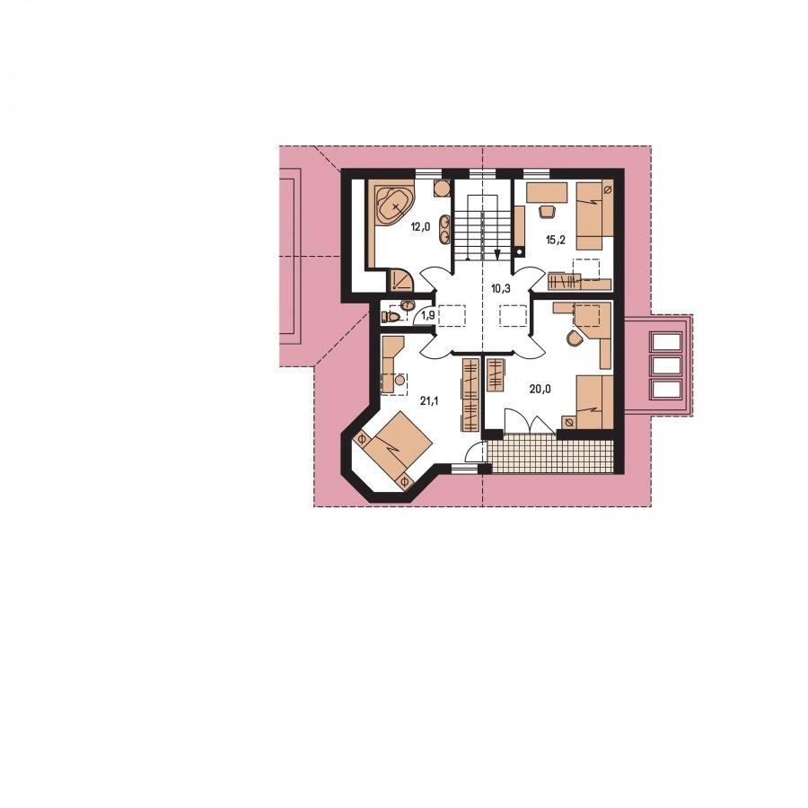 Pôdorys Poschodia - Dom s dvojgarážou, izbou na prízemí a zimnou záhradou