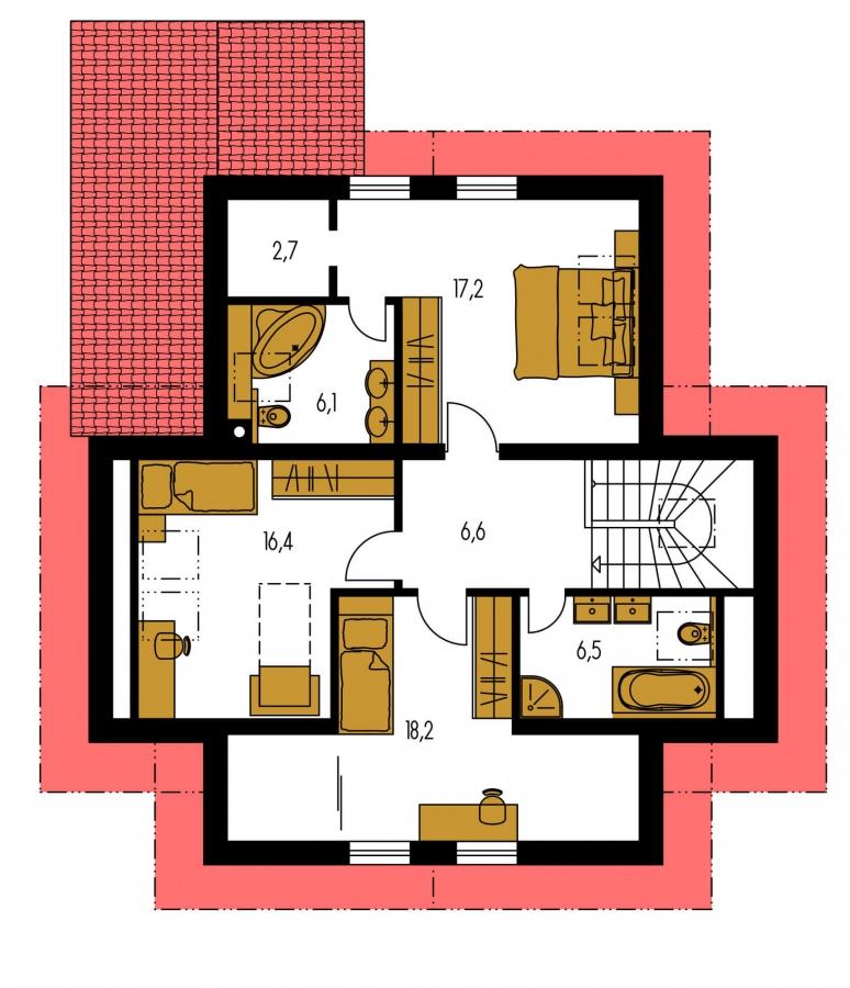Pôdorys Poschodia - Klasický rodinný dom s izbou na prízemí.