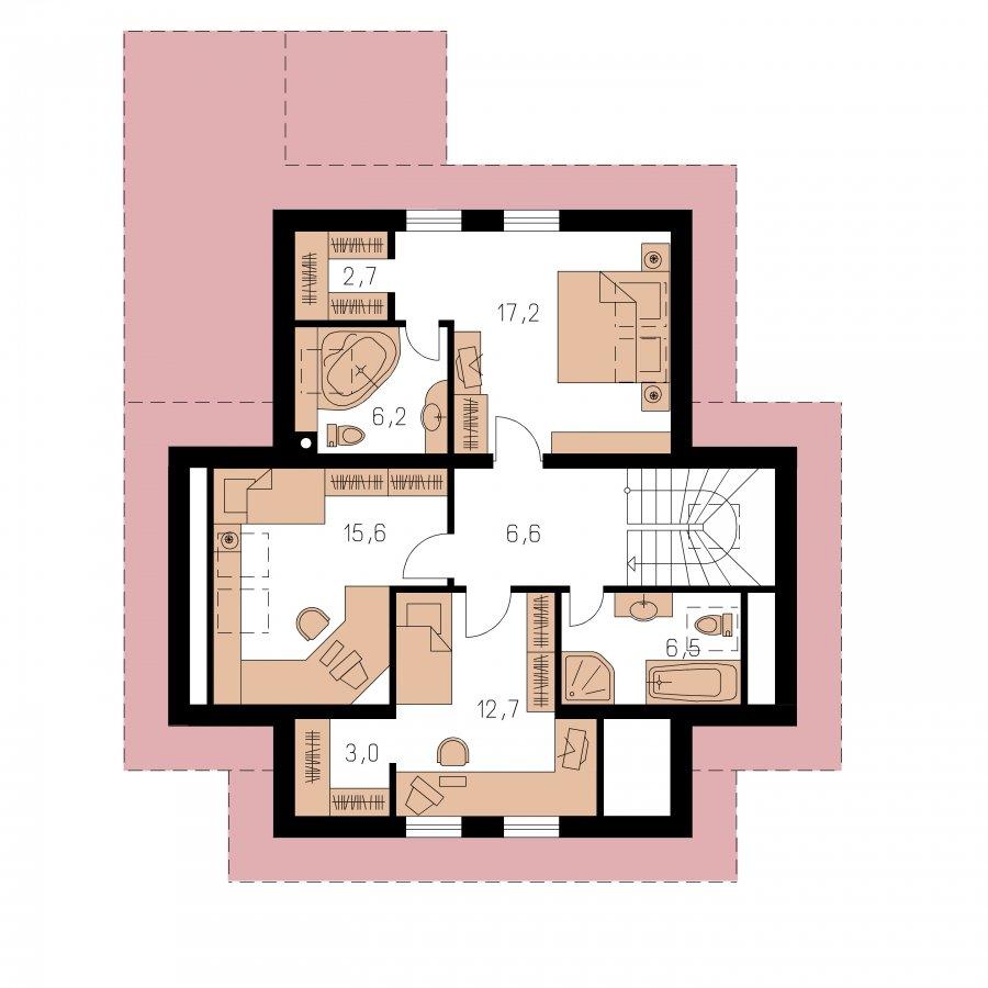 Pôdorys Poschodia - Klasický rodinný dom s izbou na prízemí
