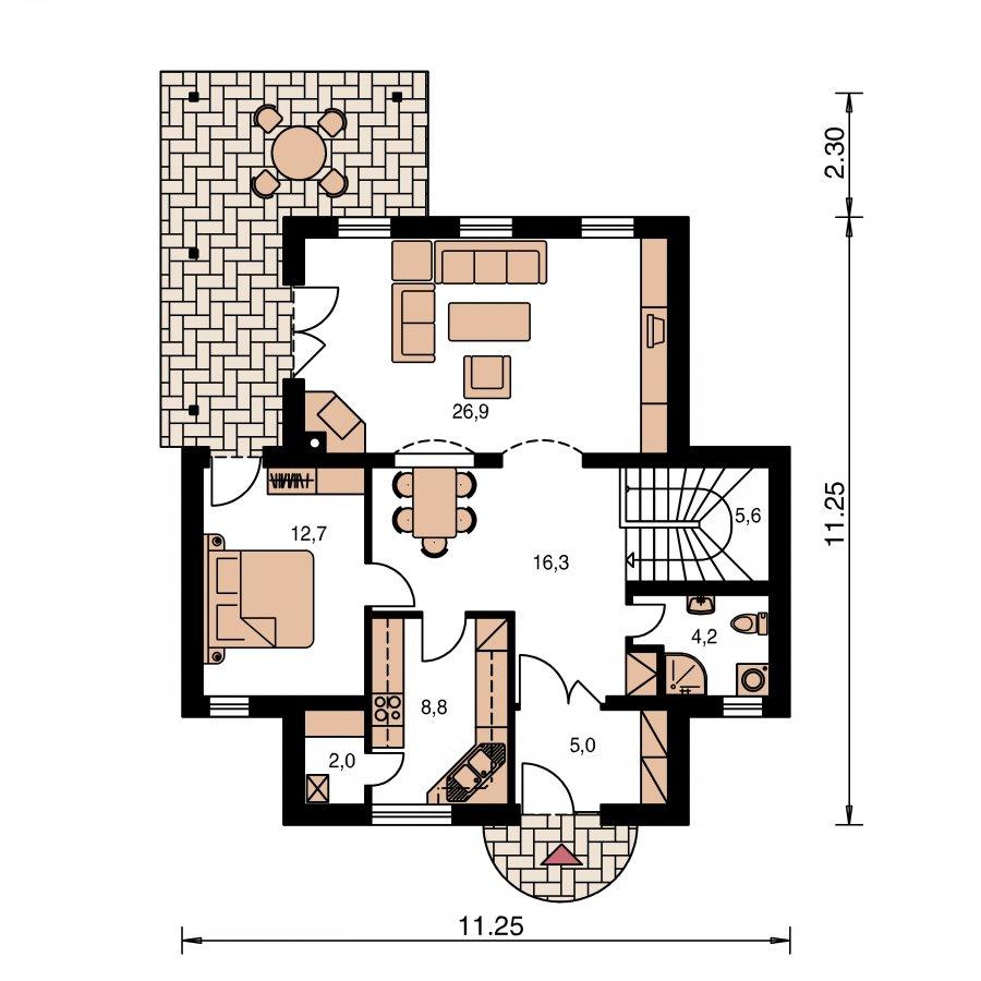 Pôdorys Prízemia - Klasický rodinný dom s izbou na prízemí