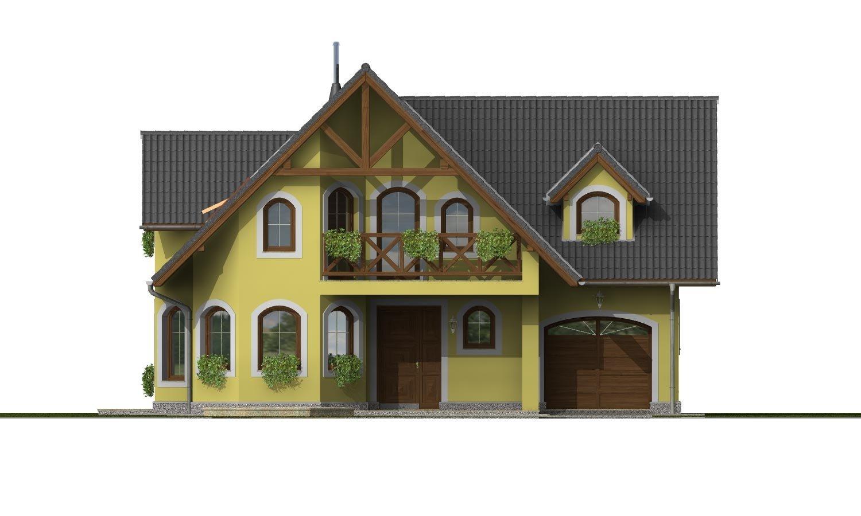 Pohľad 1. - Klasický podkrovný dom s izbou na prízemí a garážou.