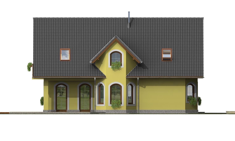Pohľad 2. - Klasický podkrovný dom s izbou na prízemí a garážou.
