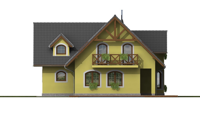 Pohľad 3. - Klasický podkrovný dom s izbou na prízemí a garážou.