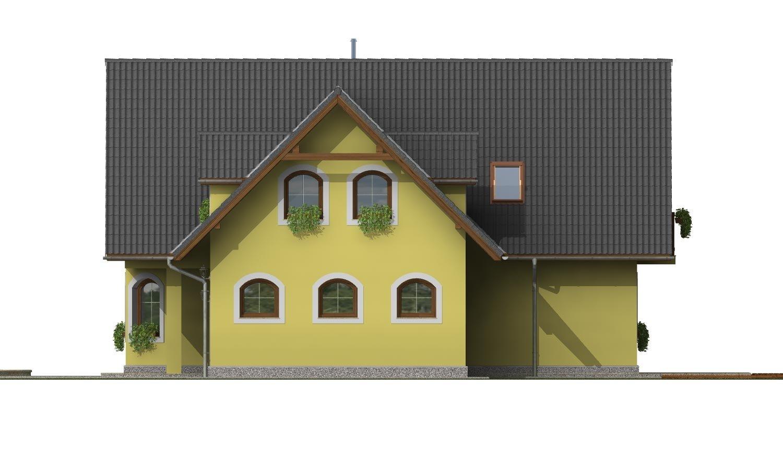Pohľad 4. - Klasický podkrovný dom s izbou na prízemí a garážou.