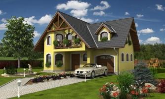 Klasický podkrovný dom s izbou na prízemí a garážou.