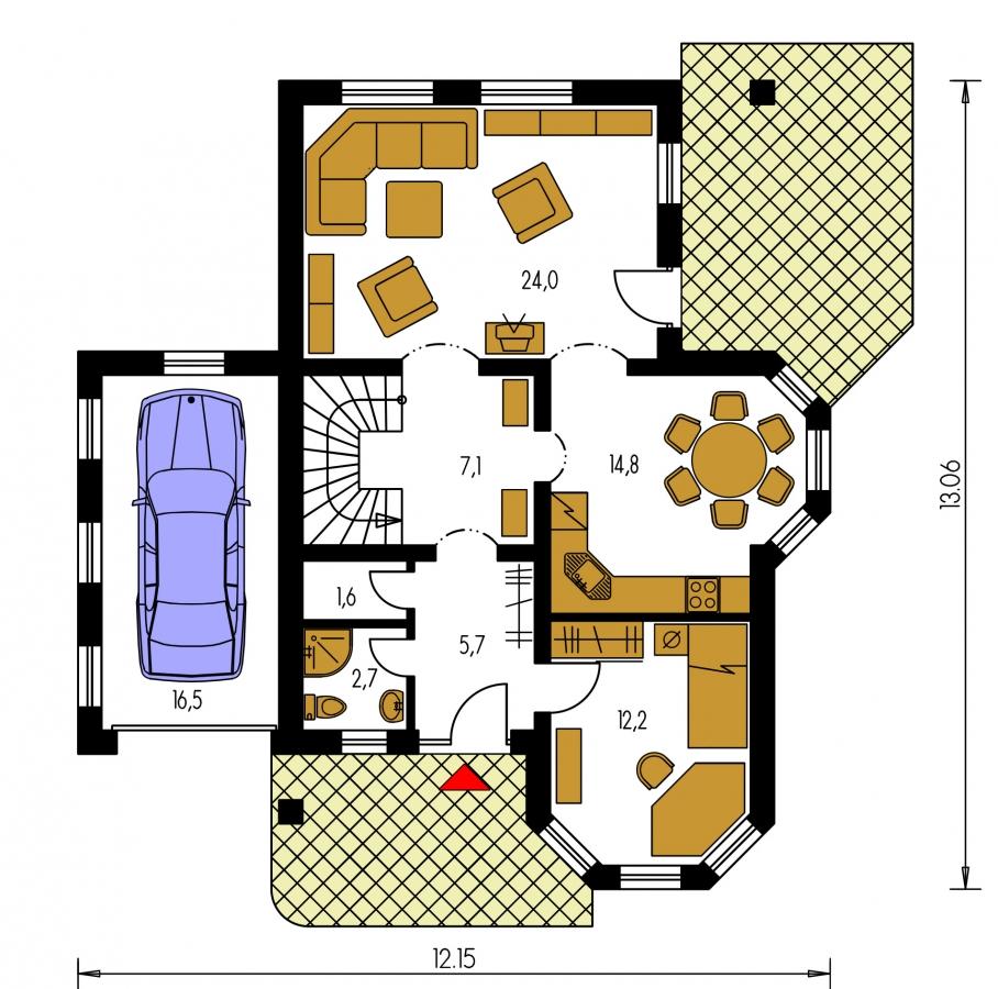 Pôdorys Prízemia - Klasický podkrovný dom s izbou na prízemí a garážou.