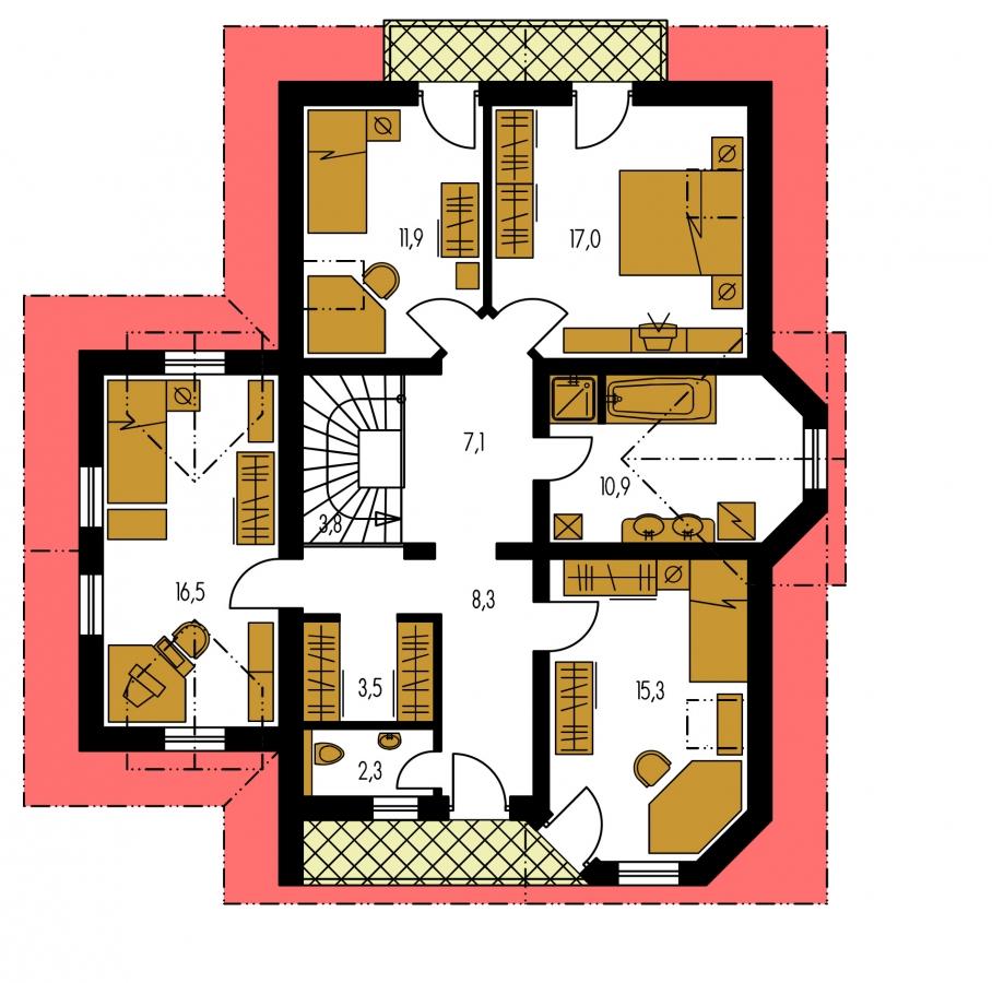 Pôdorys Poschodia - Klasický podkrovný dom s izbou na prízemí a garážou.