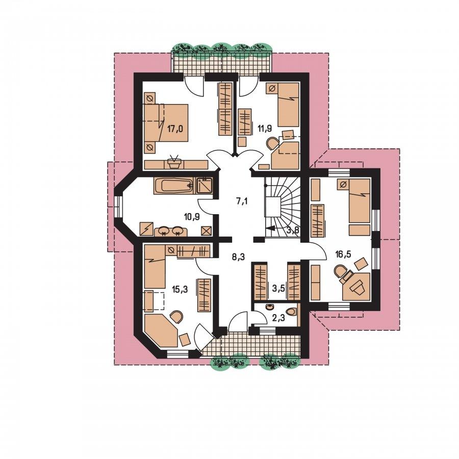 Pôdorys Poschodia - Klasický podkrovný dom s izbou na prízemi a garážou
