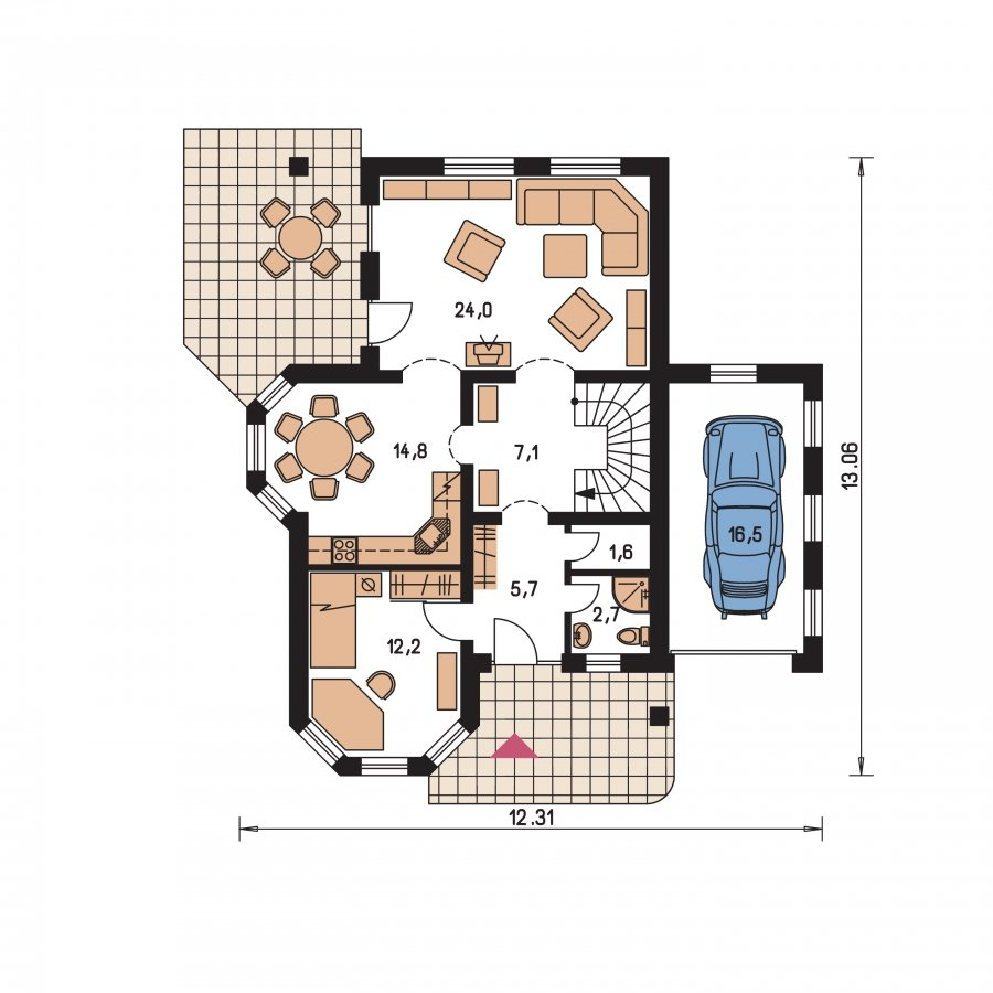 Pôdorys Prízemia - Klasický podkrovný dom s izbou na prízemi a garážou