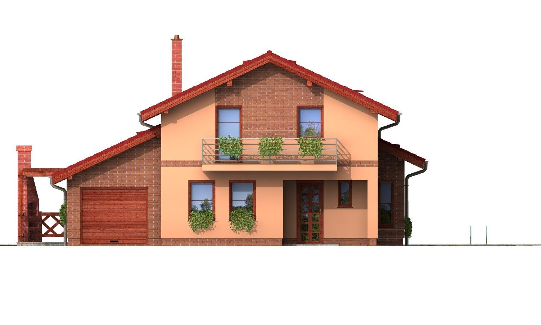 Pohľad 1. - Poschodový rodinný dom so sedlovou strechou a garážou.