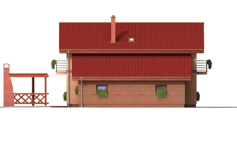 Pohľad 2. - Poschodový rodinný dom so sedlovou strechou a garážou.