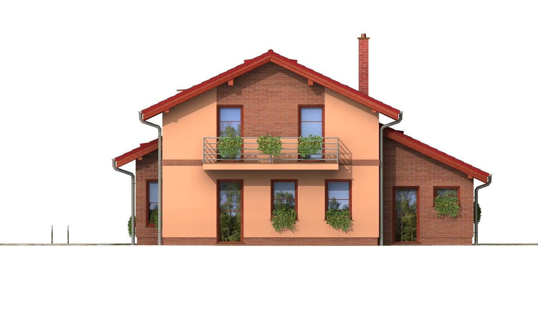 Pohľad 3. - Poschodový rodinný dom so sedlovou strechou a garážou.