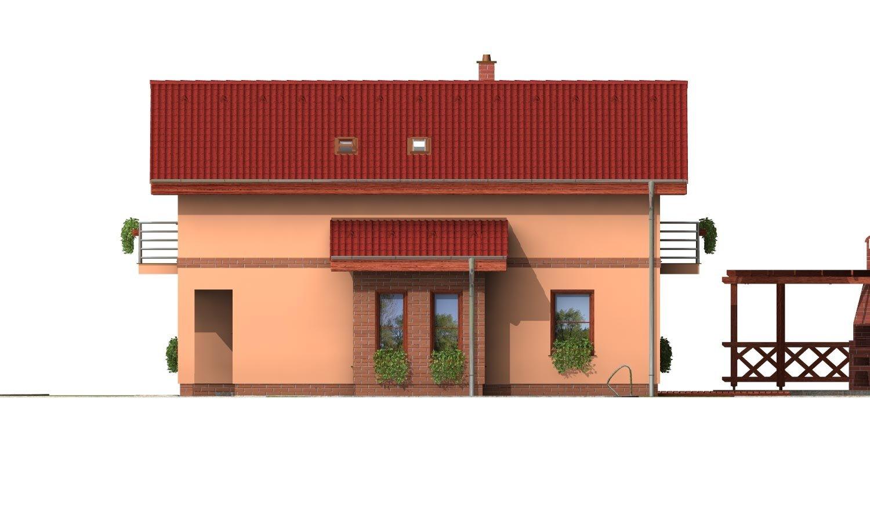 Pohľad 4. - Poschodový rodinný dom so sedlovou strechou a garážou.