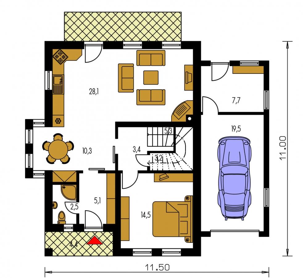 Pôdorys Prízemia - Poschodový rodinný dom so sedlovou strechou a garážou.