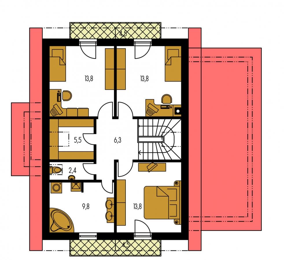 Pôdorys Poschodia - Poschodový rodinný dom so sedlovou strechou a garážou.