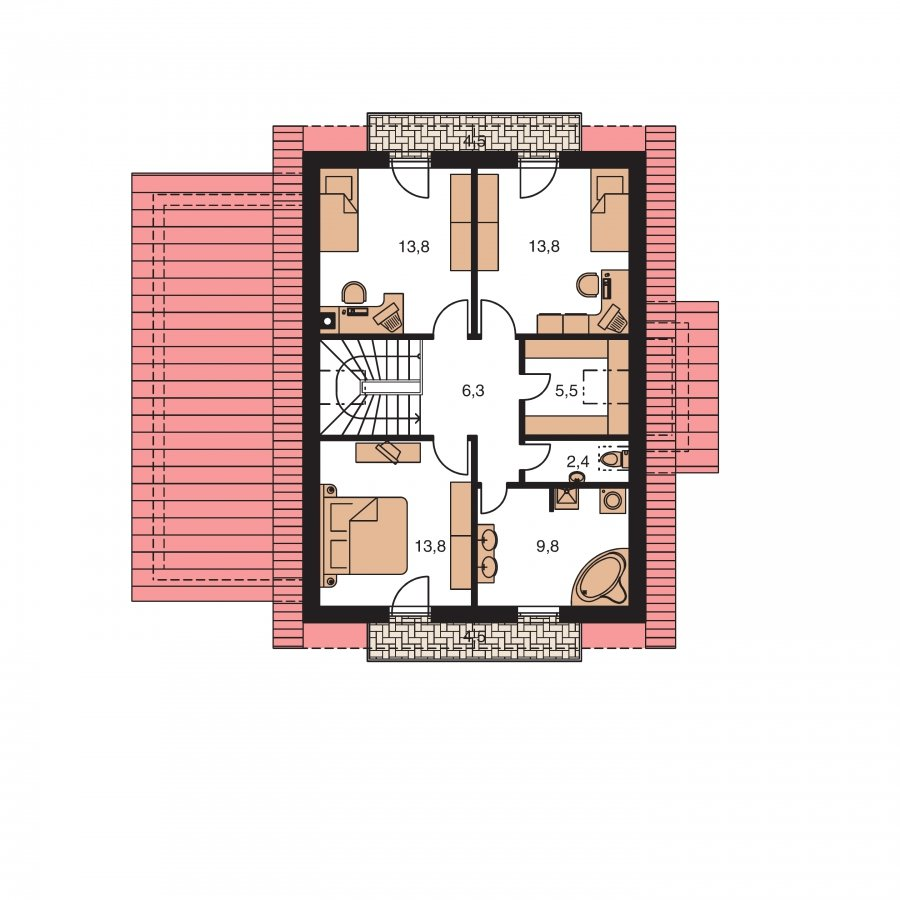 Pôdorys Poschodia - Poschodový rodinný dom so sedlovou strechou a garážou