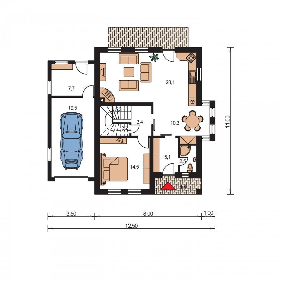 Pôdorys Prízemia - Poschodový rodinný dom so sedlovou strechou a garážou