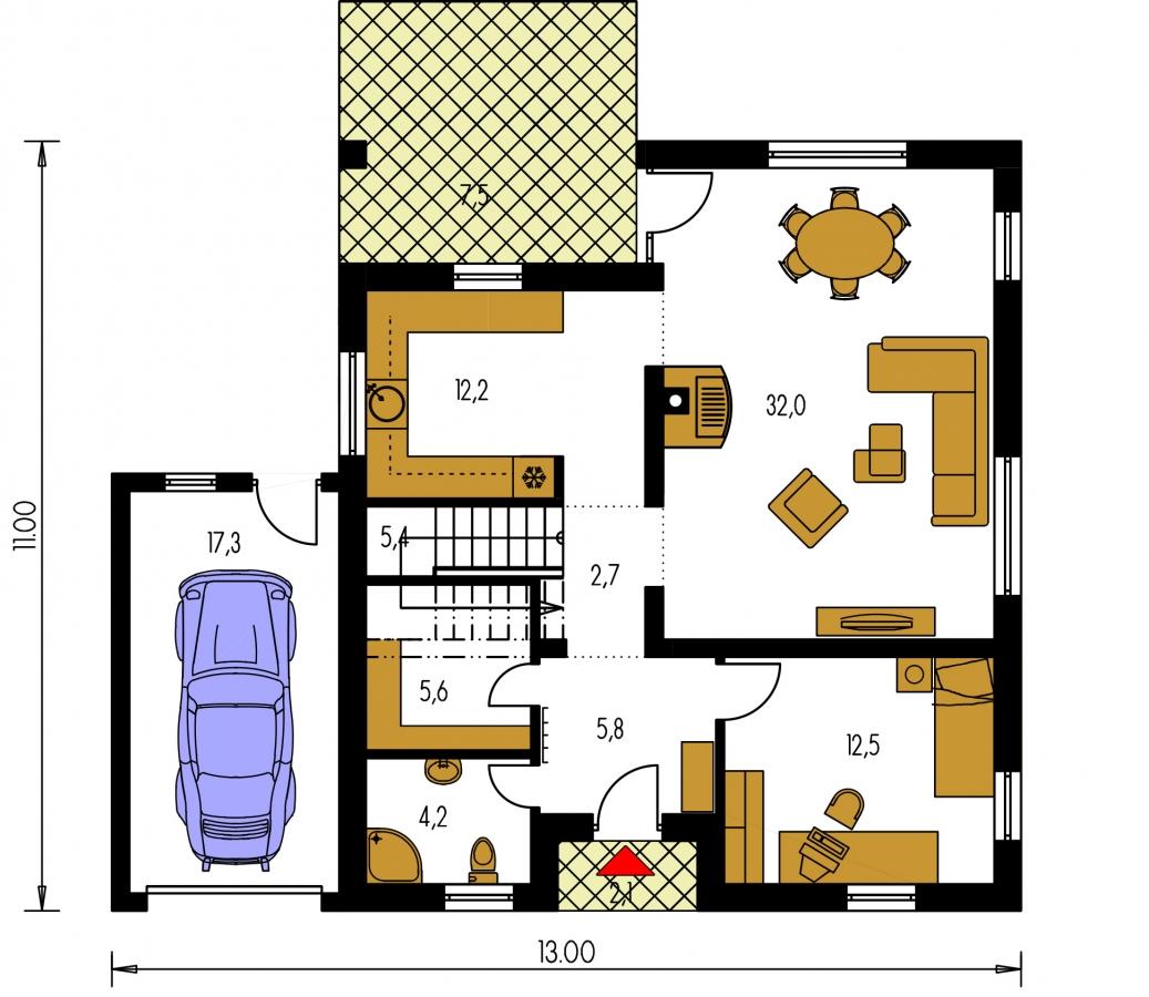 Pôdorys Prízemia - Podkrovný dom s izbou na prízemí a pristavanou garážou.