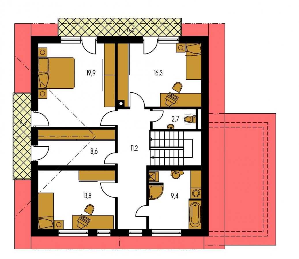 Pôdorys Poschodia - Podkrovný dom s izbou na prízemí a pristavanou garážou.