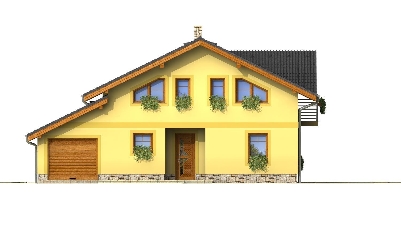 Pohľad 1. - Podkrovný dom s izbou na prízemí a pristavanou garážou