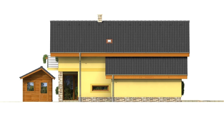 Pohľad 2. - Podkrovný dom s izbou na prízemí a pristavanou garážou