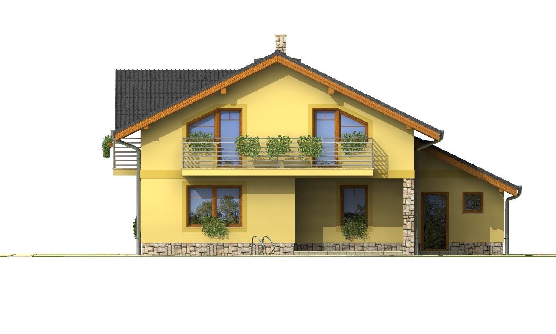 Pohľad 3. - Podkrovný dom s izbou na prízemí a pristavanou garážou