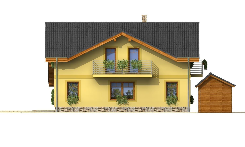 Pohľad 4. - Podkrovný dom s izbou na prízemí a pristavanou garážou