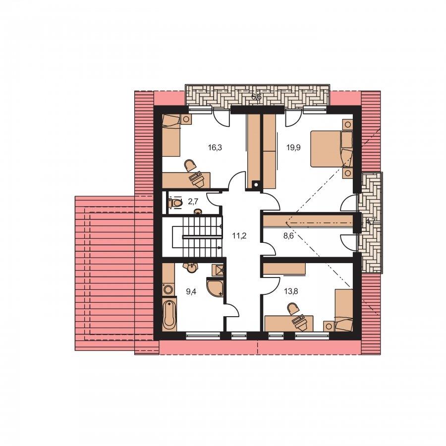 Pôdorys Poschodia - Podkrovný dom s izbou na prízemí a pristavanou garážou