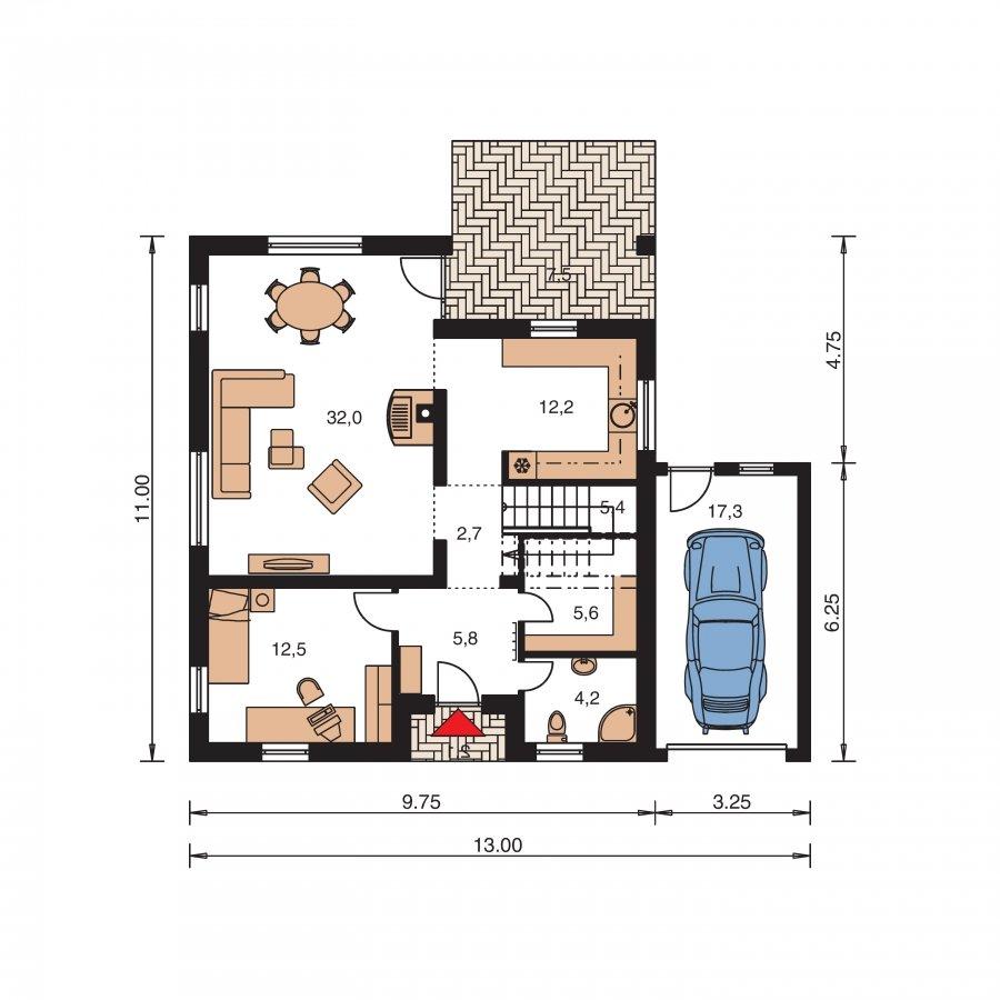 Pôdorys Prízemia - Podkrovný dom s izbou na prízemí a pristavanou garážou
